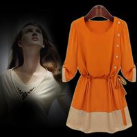 Fashion Dresses 2014 autumn Women's Clothing Three Quarter Sleeve A-Line Slim Dress Black Orange Free Shipping