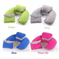 Green Gray Blue Rose red Camping Travel Air Pillow Inflatable U Shape Neck Pillow Waterproof Inflatable Blow Up Cushion