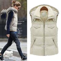 A935 L-5XL Large Size European Style 2014 New Winter Fashion Thicken Keep Warm Detachable Cap Woman Girl's Outwear Vest Coat