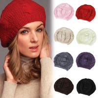 New Women's Fashion Warm Winter Beret Braided Baggy Beanie Hat Ski Cap 8colors NV170