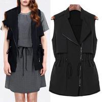 A351 XL-5XL 2014 New Autumn Fashion European Style Black Slimming OL Stretch Waist Strings Woman's Lady Waistcost Vest Coat