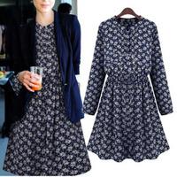A311 L-5XL Plus Size 2014 Autumn New Vintage Retro European Style Dots Shivering Narrow Waist Women's Female Dress Vestidos