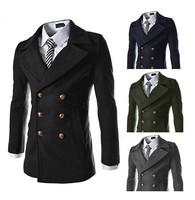 Men Double Breasted Wool Coat Korean Winter Jackets For Men Casacos Sobretudos Masculino Longo Fashion Long Coat Men Brand
