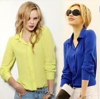 2014 Hot Sale New Long-Sleeve Shirt Female Chiffon Women's Blouse Solid Color Blusa 4 Size Bluse Camisa Femininas Woman Shirt