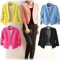 Women Short Suits Blazer jacket three quarter sleeve candy bright color elegant slim fashion outwear W4384