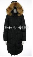 2014 women popular black long duck down coat with big fur