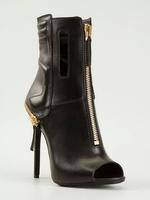 sexy peep-toe high heels women boots genuine leather fashion women autumn heels shoes Front zipper women motorcycle boots