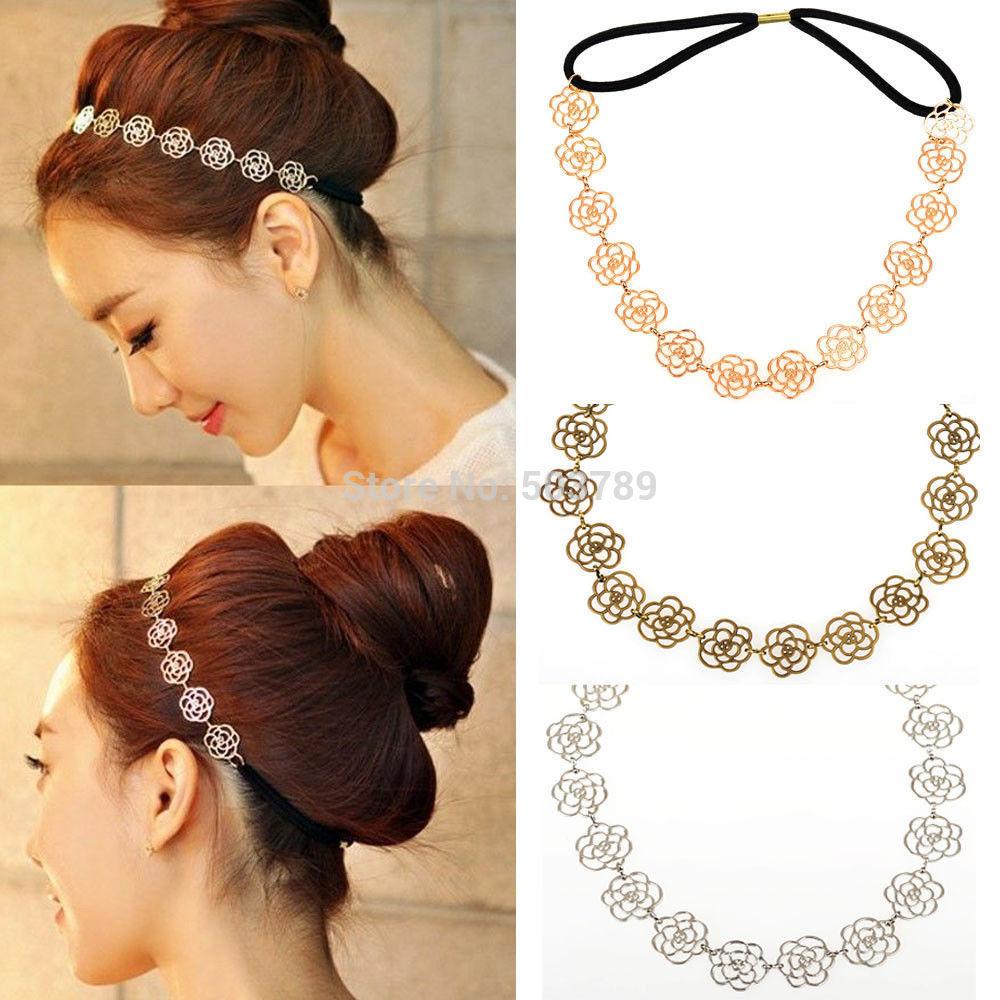 Fashion New Womens Metallic Hollow Rose Flower Elastic Hair Band Headband(China (Mainland))