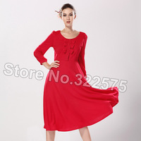 2014 Fall Winter Women Vintage Slim Elegant Art Bow Solid Color Long Evening Party Formal Casual Dresses Dark Red SDS046