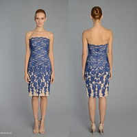OEM306 Strapless Knee Length Champagen and Royal Blue Mother of the Bride Lace Dresses