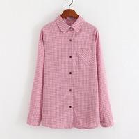 New 2014 casual Vintage Women's Shirt Chiffon Blouse Pink plaid Shirt Sweet Long Sleeve women blouses Tops