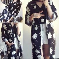 Free shipping 2014 Hitz retro flower print long cardigan jacket suit collar lady coat wholesale