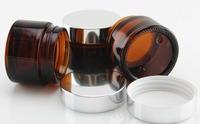 Top-quality Glass 2 oz Amber Salve Jar w/ Silver Lid 6pk