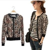New Women leopard print Jacket button Long-sleeved Thin Coat lady fashion short cardigan leopard slim jacket Outerwear