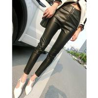 New Fashion Slim Black Leather Pants Zipper Stretch Pants Feet PU Leather Elastic Slim Pants  Collocation Boots Trousers