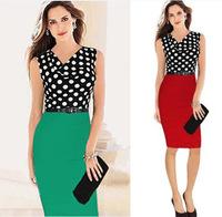 2014 Sexy Summer OL slim Dresses  Polka Dot Color  Party Bodycon sleeveless Dress