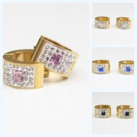NEW  wholesale Fashion Stainless Steel Crystal Gold  Earrings With Women's jewelry