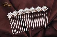 Women Flower Crystal Rhinestone Pearls Hair Comb Clip Wedding Bridal 4 Kinds Of Styles Drop Silver Plated Headwear#984