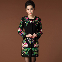 Free Shipping 2014 Brand Large size women's European and American Long  Embroidered woolen Cashmere Coat  Big Size S-3XL
