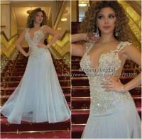 Sexy Custom Made Arabia Myriam Fares Dresses Mermaid Transparent Tulle Evening Dress Sky Blue Celebrity Dresses Vestido de Festa
