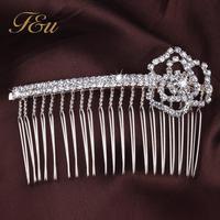 Wholesale Wedding Bride Crystal Hair Comb Bridal Accessories Wedding Jewelry Rhinestone Flower Comb  #353
