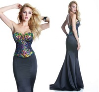 2014 Fashion Gowns Crystal Beaded on Satin Sweetheart Off the Shoulder Mermaid Court Train Long Prom Dresses