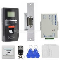 DIY Full Complete LCD Fingerprint And Id Card Reader Password Keypad Door Access Control System + Strike Lock + Remote Control