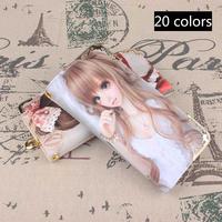 2014 HOT fashion Oil painting women ladies girls purse bags handbag brand PU leather long wallets Cartoon dolls design