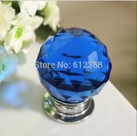 10PCS/LOT 30mm Blue Zinc Alloy Crystal Round Ball Glass Diamond Cabinet Knobs Handles Drawer Cupboard Door Pulls Ceramic Handles