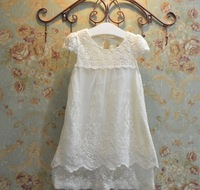 New Baby Girl White Lace Hollow Out Elegant Mesh  Dresses For Princess, Kids Party Wear Wholesale 5pcs/lot, Free Shipping