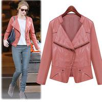 free shipping 2014 autumn the European station fashion PU jacket long sleeved sweater slim jackets women women coat