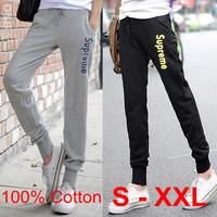 New 2014 Pants Women Print 100% Cotton Women's Cotton Sports Pants Casual Loose Thin Trousers Ankle Length Pencil Pants S-XXL