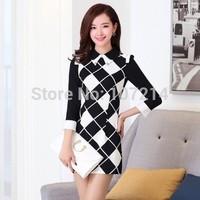 2014 New desigual autumn winer vintage plaid print dress for women vestido de festa novelty work wear office dress black white