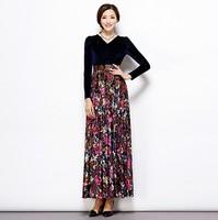 2014 Autumn long dress women's flower print maxi dress V-neck female long sleeve velvet dress plus size high waist black dress