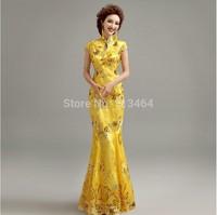 Vestidos De Fiesta 2014 New Arrival Yellow Lace Short Sleeve Sexy Elegant Long Evening Dresses Floor Length Formal Evening Gowns
