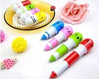 Free Shipping 10pieces/lot Stationery Pill Retractable Ballpoint Pen Cute Smiling Face Pen Telescopic Vitamin Capsule Ballpen