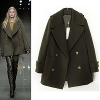 NEW European American big new women's woolen coat long section temperament luxury single-breasted Autumn Winter Wool Coat