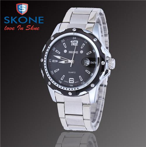 SKONE Jewelry Brand Suppliers,Promote Men Commercial Leisure Sports Style Watch Stainless Steel Waterproof Calendar Quartz W