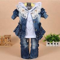 [LOONGBOB] 2014 children clothing set baby Girls fashion Lace denim 3pcs set top coat outerwear + Shirts+ Pant denim suit