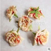 100Pcs/bag 7CM  9 Colors  Artificial Flowers Rose Wedding Decoration  Headwear  Cap Clothes Diy Double Color Flower Head