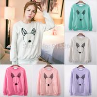 2014 New Women's Sweatshirts Hoodies  High quality Pure color cartoon printing Fleeces Round collar women hoodies 5 color
