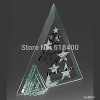 best selling new design high quality triangle jade glass plaque award  Jade plaque Award