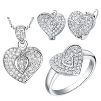 Best Quality Platinum Plated Jewelry Set,Fashion Crystal Heart Necklace & Rings & Earrings,Wholesale Fashion Jewelry,DGYT003