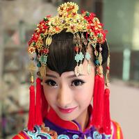 Luxury  Bridal traditional Chinese Red Beads Gold  Tassel Princess Bridal Hair Vines Halos Tiara