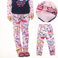 2014 hot sale summer autumn fashion peppa pig girl legging cartoon printed cotton wear toddler baby kids children pants