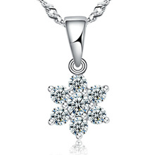 WSHT:Wholesale Free Shipping 925 Sterling Silver Pendant Necklace Snowflake High Quality Crystal Woman Jewelry