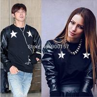 New fashion EXO man's long sleeved round neck sweatshirts PU Leather stitching pullovers male plus size