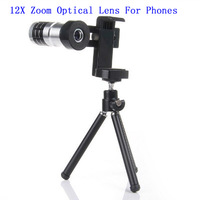 Mobile Phone Telescope Camera 12x Zoom Optical Lens For Universal Phone Lens Holder,Free Shipping,Retail Package