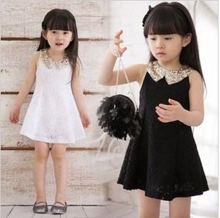 New 2014 Fashion girls apparel Girls gold collar chiffon Pleated A-line lace clothing summer one piece dress(China (Mainland))