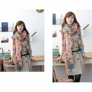New 2015 Fashion Pastoral Style Scarves Women Soft Silk Blend Floral Print Scarf Wrap Women Pretty
